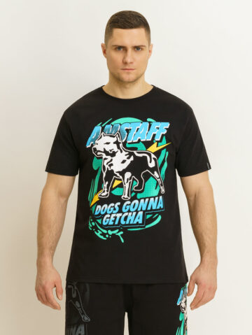 Amstaff must/värviline T-särk