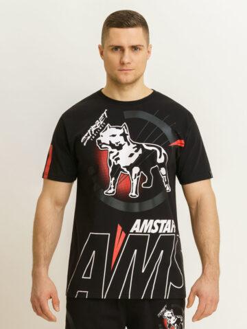 Amstaff must/punane logoga T-särk